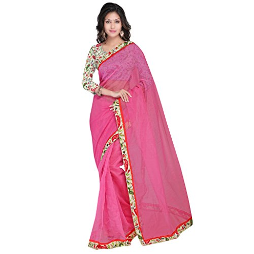 sarvagny clothings Women Silk Cotton Saree (Sarvagny562_Pink_Pink_Free Size)
