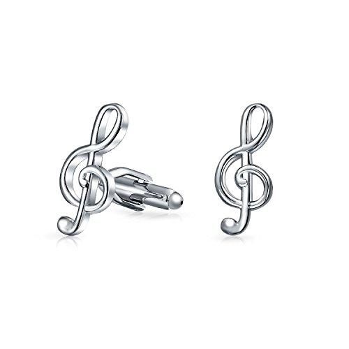 Bling Jewelry G Musique Treble Clef Chemise Boutons De Manchette Femme Homme Retour De Charnières en Acier Inoxydable Ton Argenté