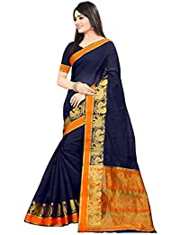 Ethnic Diwa Lattest Designer Navy Blue Cotton Silk Kanjivaram Saree
