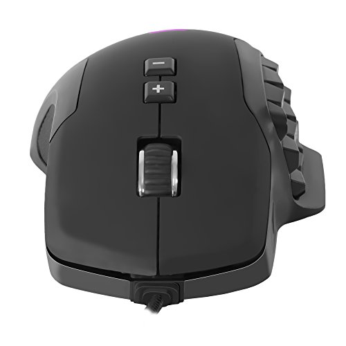 AIM - Ratón gaming profesional, (10000 DPI,sensor óptico Avago PRO,17 botones mecánicos programables OMROM, DNA RGB configurable, botones laterales personalizables, peso customizable, 40G,1000Hz)