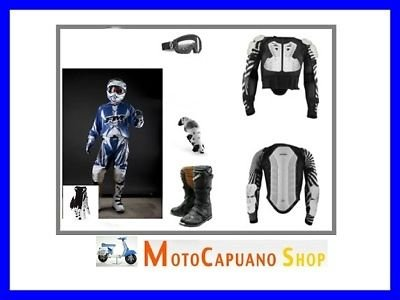 Kit Bekleidung Blau L Cross Enduro Quad Stiefel, Herren, Handschuhe, Hose