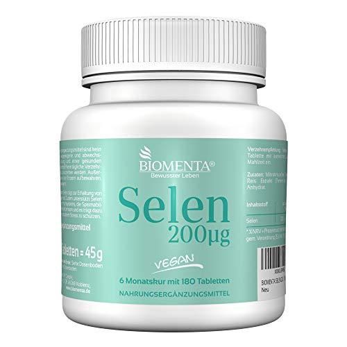 BIOMENTA SELEN 200µg | 6 Monatskur | 180 Selen Tabletten mit Selen hochdosiert | VEGAN