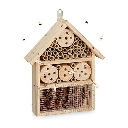 Relaxdays Insektenhotel Bausatz für Käfer, Wildbienen und Florfliegen, für Terrasse und Garten, HBT 33x24,5x7 cm, Natur