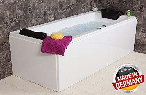 Whirlpool Badewanne Relax Basic MADE IN GERMANY 140 / 150 / 160 / 170 x 75 cm mit 16 Massage Düsen + LED Beleuchtung + Balboa + OHNE Armaturen Eckwanne rechts oder links Spa Eckbadewanne günstig
