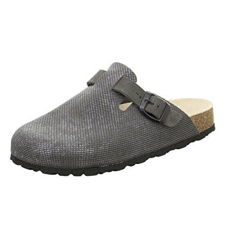 AFS-Schuhe 2900 Clogs Damen, Bequeme Hausschuhe, Echt Leder Größe 39 Grau (Stone) (Leder Schuhe Echtes Italienische)