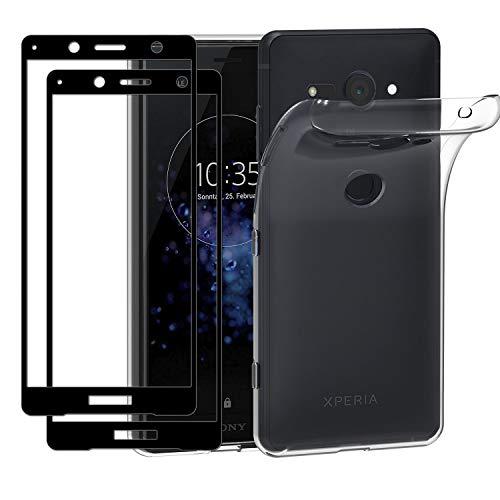 ivoler Funda para Sony Xperia XZ2 Compact + 2 Unidades [Cobertura Completa] Cristal Templado, Transparente TPU Silicona Carcasa Caso + Vidrio Templado Protector de Pantalla para Sony XZ2 Compact