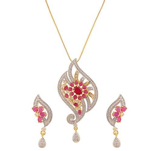 swasti-jewels-peacock-shaped-cz-zircon-fashion-jewellery-set-pendant-earrings-for-women-red