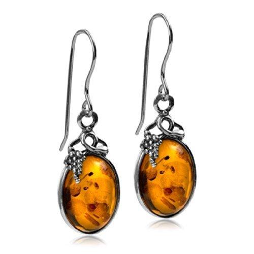 Noda - Orecchini con tralci di vite in vera ambra certificata e argento sterling, stile classico