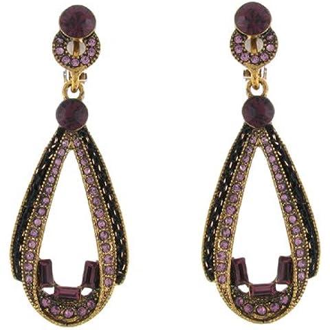 Clip on Earrings Store in cristallo, colore: viola a goccia in ametista, Orecchini Vintage a Clip