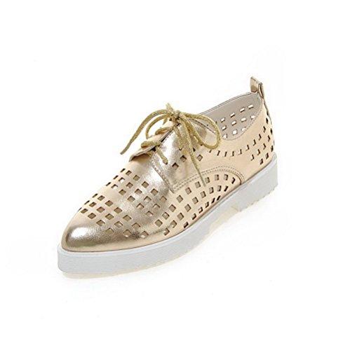 Laço Sapatos Do Ouro Do Pé Couro De Calcanhar Dedo Apontou Pu De Bombas Baixos Senhoras Puramente Voguezone009 6XqSwB