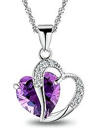 6856187ee027 hanie Collar para mujer cadena de plata colgante de corazón plata de ley 925  con amatista lila blanco circonitas…