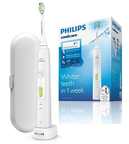 Philips Sonicare HX8911/02 HealthyWhite+, Spazzolino Elettrico con Tecnologia Sonicare, 2 Programmi di Pulizia,  Bianco satinato