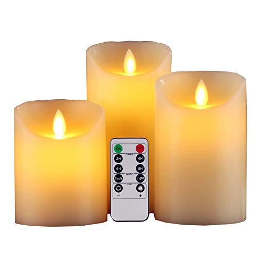 GBATERI 3 Pack LED Flammenlose Kerze Dripless Echt -