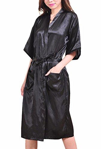 DELEY Unisexe Couple Femmes Doux Chaud Kimono Satin Soie Peignoir Vêtements De Nuit Robe de Chambre Déshabillé Pyjama Noir