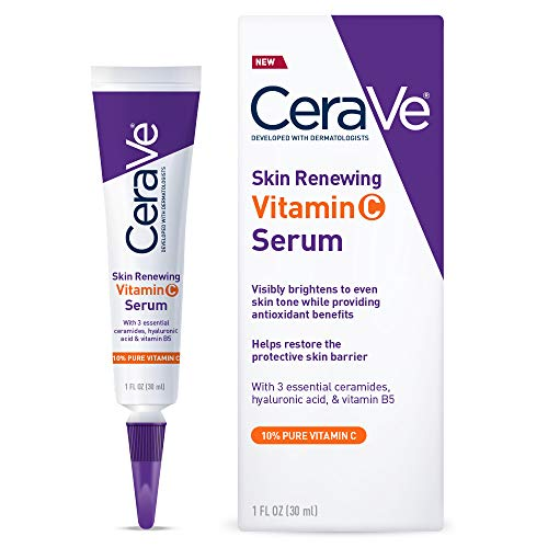 CeraVe Vitamin C Serum with Hyaluronic Acid | Skin Brightening Serum for Face with 10% Pure Vitamin C | Fragrance Free | 1 Fl. Oz -