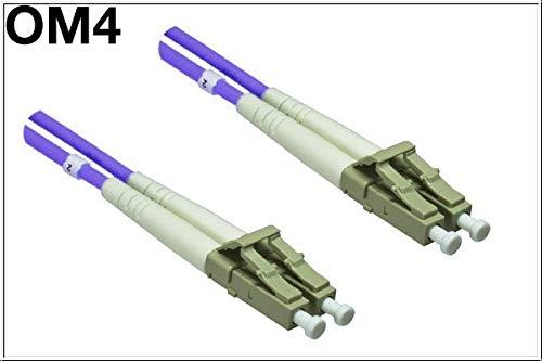 DINIC LWL Kabel OM4, 50µ, Patchkabel LC/LC Multimode (50m, violett) - 50-meter-fibre-kabel