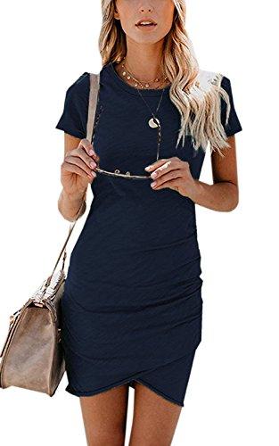 ZIOOER Damen Casual Minikleider Kurzarm Kleider Bodycon Kleid Navy Blau XL -