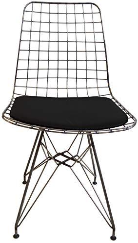 mina concept Draht-Stuhl modern I Farbe: Industrial Style I Esszimmer, Office/Büro, Lounge, Schminktisch I Designer Sessel im Bertoia Wire-Chair Style I Polster: Schwarz -