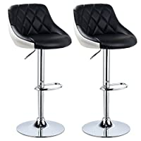 WOLTU Bar Stools Black+White Bar Chairs Breakfast Dining Stools for Kitchen Island Counter Bar Stools Set of 2 pcs Leatherette Exterior, Adjustable Swivel Gas Lift, Chrome Steel Footrest & Base