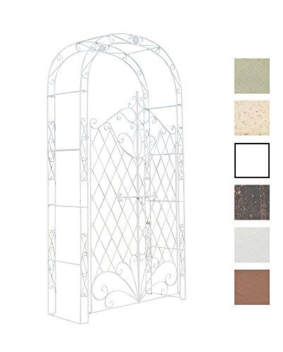 CLP Eisen Rosenbogen Melissa mit Tor/Tür, Doppeltor Höhe 150 cm, Maße gesamt: Breite 120 cm, Höhe 220 cm, Tiefe 40 cm Weiß