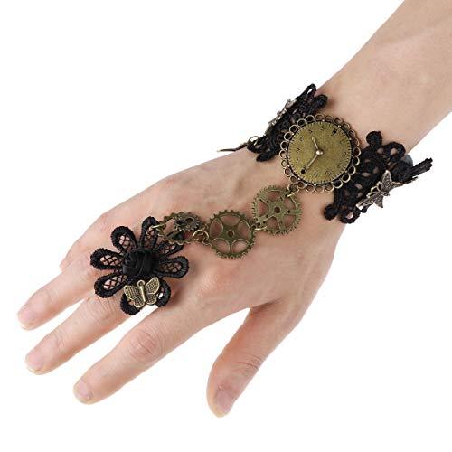 Freebily Gothic Lolita Vintage Choker Halskette Spinnennetz Armband Steampunk Zahnrad Schmuck Spitze Zubehör Cosplay Kostüm Accessoire Schwarz D One Size (Vintage Kostüm Schmuck Halskette)