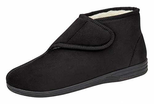 Mens Micro Suede Boot Style Fur Lined Velcro Slippers Black or Blue Size 6 7 8 9 10 11 12