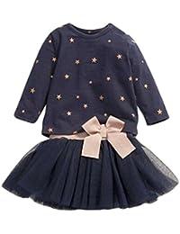 ARAUS Camiseta Ninas Estampado Estrellas Manga Larga Cuello Redondo + Vestidos Nina Ceremonia Corto con Bowknot 1~6 anos