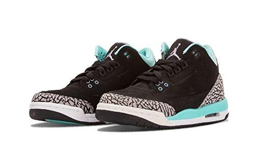 Nike Mädchen Air Jordan 3 Retro GG Laufschuhe, Schwarz/Lila/Grau (Blk/Irn-Blchd Prpl TRQ-WLF Gry), 36 EU