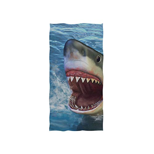 Fierce Awful Shark Soft Spa Badetuch Fingerspitze Handtuch Waschlappen Für Baby Erwachsene Badezimmer Strand Dusche Wrap Hotel Travel Gym Sport 30x15 Zoll -