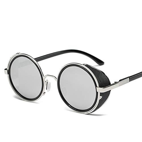YOURSN Steampunk Sonnenbrille Frauen Runde Brille Brille Männer Seite Visier Kreis Objektiv Unisex Vintage Retro Style Punk-8-Silver-Silver