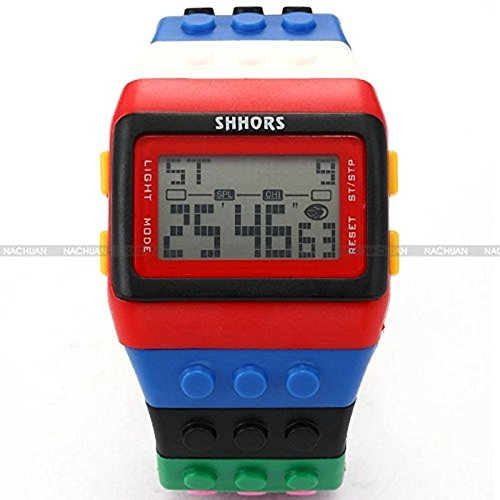 XuBa Rainbow Building Blocks Digital LED Light Reloj Deportivo Impermeable para Hombre LED087
