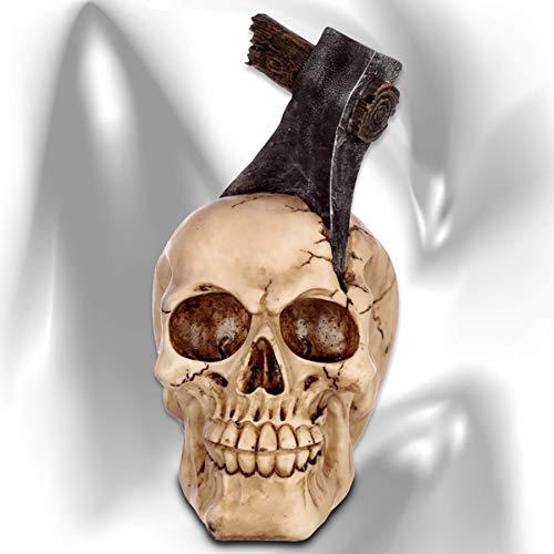 mtb more energy Deko Totenkopf ''Headaches'' | Skelett mit Axt im Schädel |Höhe ca 16 cm | Totenschädel Figur Dekoration