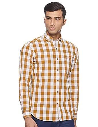 John Players Men's Checkered Slim fit Casual Shirt
