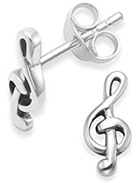 Sterling Silver Treble Clef Earrings - Music Stud Earrings - SIZE: 9.5mm x 4.5mm x 1mm thick. 5215. Gift Boxed