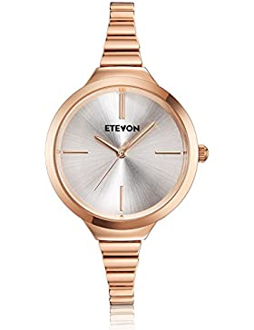 ETEVON Women's Quartz Rose Gold Armband Uhr mit High-End Edelstahl Case, elegante Luxus-Gold-Tone Kleid Handgelenk...