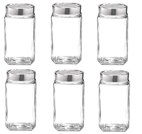 Famacart Glass Cube Jar, 1000ml (Transparent) – Pack of 6