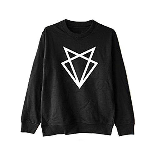 Q.KIM Femme Homme Sweat-shirt Encolure ras du cou Pullover Manches Longues Sweatshirt S-3XL Triangle,Noir