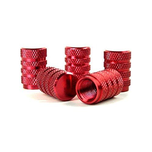 haerbin shenhao Tappi Valvole Pneumatici, Set di 5 PCS Cappucci Coprivalvola in Lega di Alluminio per Valvole da Auto per Pneumatici, 15mm Rosso