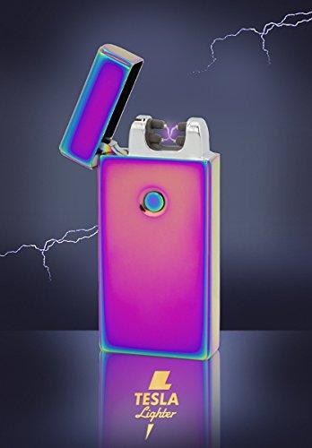 Tesla-Lighter T09 Lichtbogen Feuerzeug Elektro Double-Arc elektronisch wiederaufladbar. Aufladbar per USB mit Strom ohne Gas und Benzin. Mit Ladekabel in edler Geschenkverpackung Regenbogen
