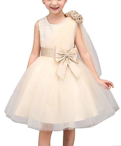 Happy Cherry Mädchen Prinzessin Festliche Kleider Brautjungfern Hochzeitskleid Festzug Kleid Blumenmädchen Kleid Partykleid Tüll Abendkleid mit Schleife Blumen