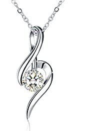 J.Rosée Silver Necklace for Women, 925 Sterling Silver Zirconia Jewellery Fair Lady Mother's Day Gift Best Gift for Women with Gift Packed 45cm-50cm(18in-20in)