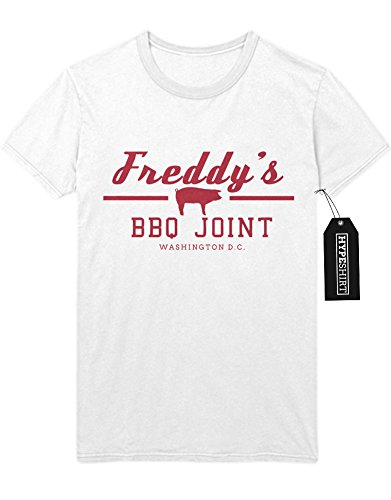 Drama Tv Kostüm (T-Shirt Freddy`s BBQ Joint House of Cards H549340 Weiß)