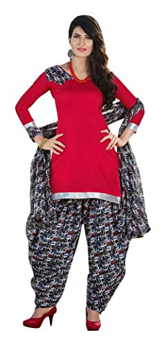 Saranya Sarees Women's Cotton Unstitched Dress Material (Red)
