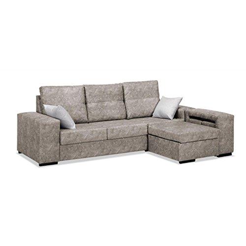 Mueble Sofa ChaiseLongue, Arcon abatible, Tres plazas Color Beige cheslong ref-89