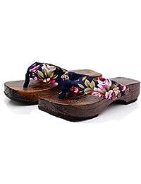 WHSHINE Sommer Damen Outdoor Drucken Plattform Schuhe Holz Sandalen  Elegante Hölzern Hausschuhe Flip Flops Strandschuhe Badeschuhe 20e0a17183