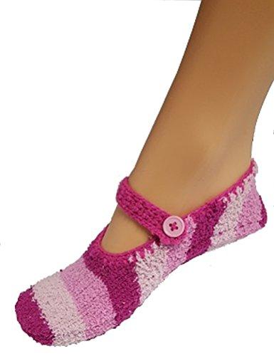 Strick Hausschuhe Ballerinas Slipper mit ABS-Sohle F004 Dunkel Blau
