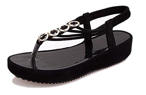 Fortuning's JDS Elegante piattaforma di moda infradito sandali estate per le donne Nero