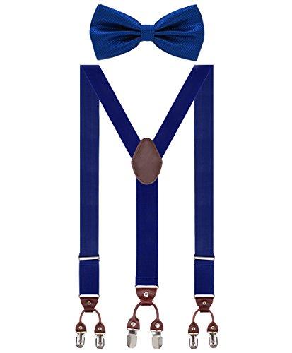 Herren Hosenträger Breit 6 Clips mit Leder in Y-Form / Extra Starken 35mm Elastisch und Längenverstellbar in Verschiedenen Farben Designs für Männer und Damen Hose, Königsblau Fliege, Gr. one size