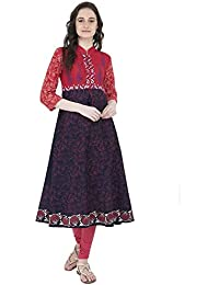Zoeyams Women's Multicolor Cotton Screen Prints Long Anarkali Kurti