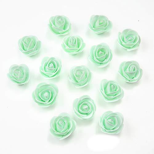 NWSX Gefälschte blumenköpfe DIY handgemachte Schaum Blumen 3 cm Rose blumenköpfe künstliche Rose Hochzeit Dekoration Scrapbooking Handwerk 50 Teile/los 3 cm (Mint Green) -